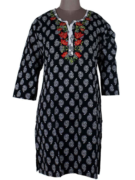 Printed Kurti From Rajasthan In Black - PJRKLB19MY71