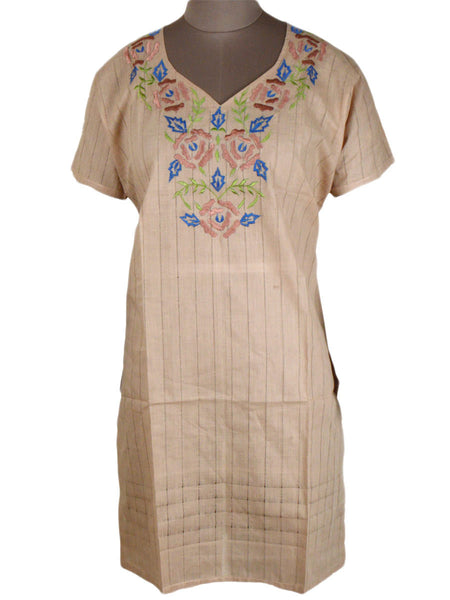 Printed Kurti From Rajasthan In Beige - PJRKLB19MY73