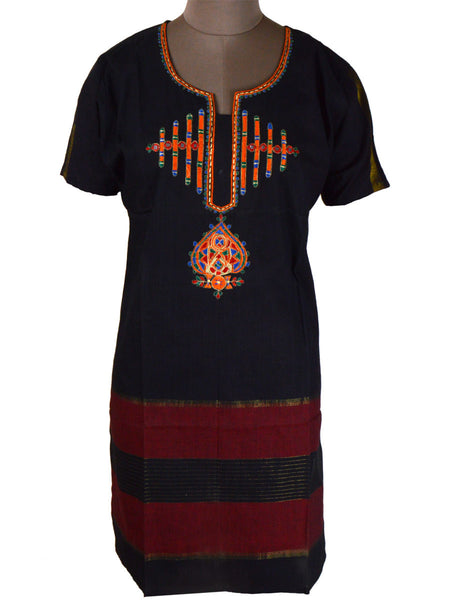 Printed Kurti From Rajasthan In Black - PJRKLB19MY74