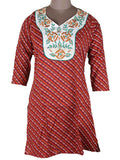 Printed Kurti From Rajasthan In Red - PJRKLB19MY76