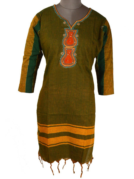 Printed Kurti From Rajasthan In Asparagus Green - PJRKLB19MY84