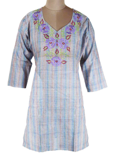 Printed Kurti From Rajasthan In Blue - PJRKLB19MY86