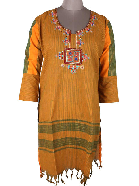Printed Kurti From Rajasthan In Goldenrod - PJRKLB30JN14