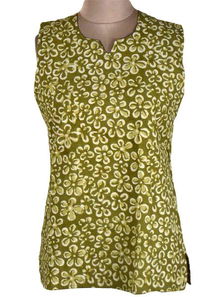 Printed Short Top From Rajasthan In Olive - PJRKT24JL12