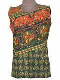 Printed Short Top From Rajasthan In Green - PJRKT5OCT3