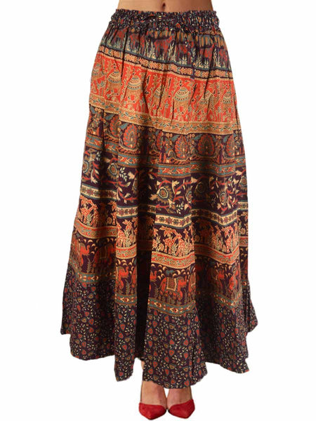 Rajasthani Skirt With Block Print In Red - PJRSE11FBY20