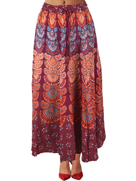 Skirt With Block Print In Carmine Pink - PJRSE12FBY14