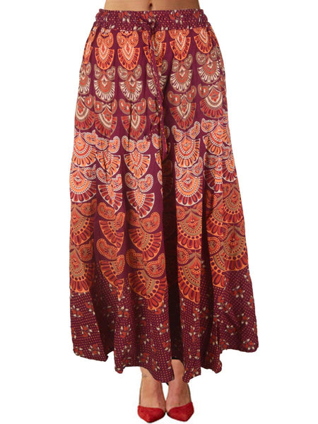 Skirt With Block Print In Carmine pink - PJRSE12FBY16
