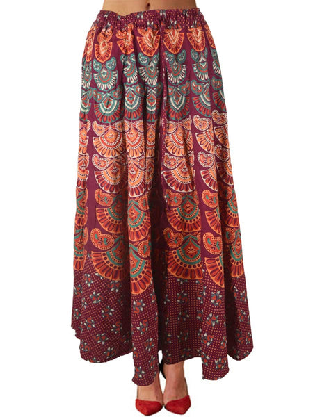 Skirt With Block Print In Carmine Pink - PJRSE12FBY2