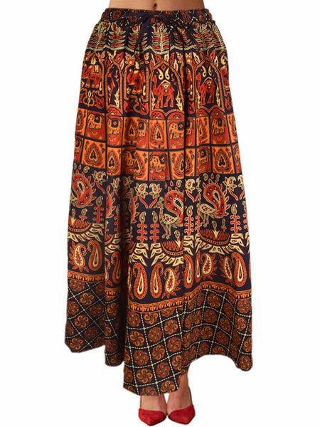 Skirt With Block Print In Brown - PJRSE30MH10