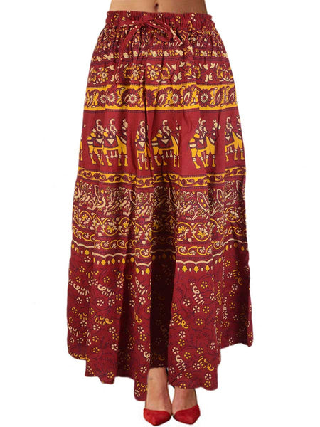 Elastic Skirt From Jaipur In Red - PJRSE30MH35