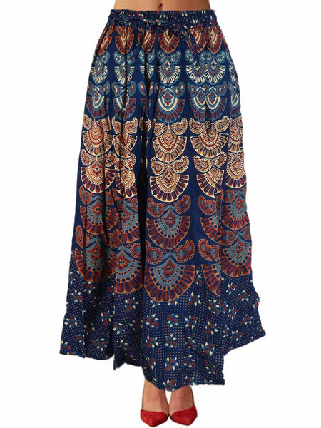 Rajasthani Skirt With Block Print In Red - PJRSE30MH8