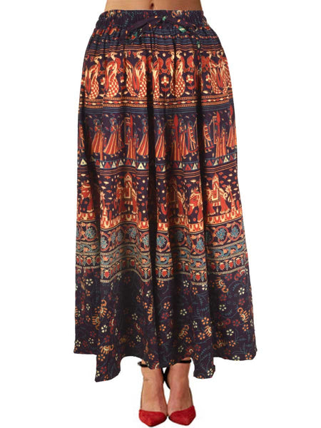 Skirt With Block Print In Multicolor - PJRSE3MH36