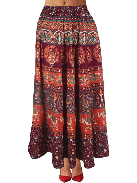 Skirt With Block Print In Oxblood Red - PJRSE3MH9