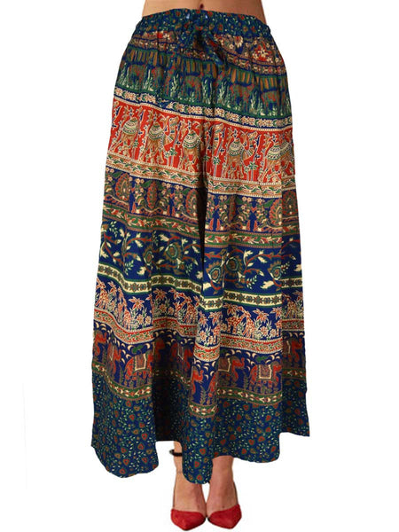 Jaipuri Skirt With Block Print In Blue - PJRSE4JN27