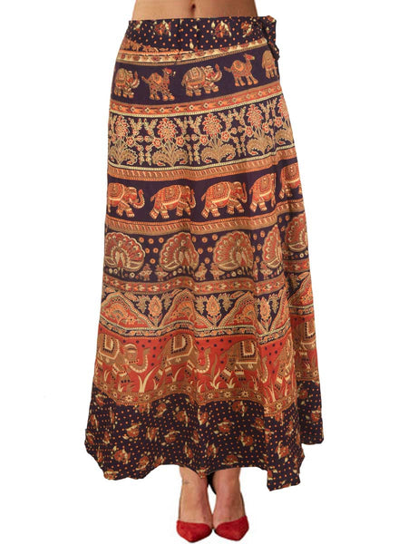 Block Print Wrap Around Skirt From Jaipur In Maroon - PJRSL16AP10