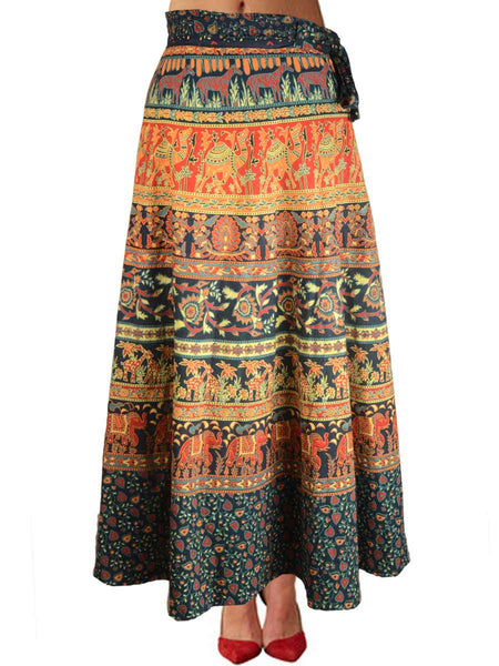 Block Print Jaipuri Wrap Around Skirt In MultiColour - PJRSL18MA8
