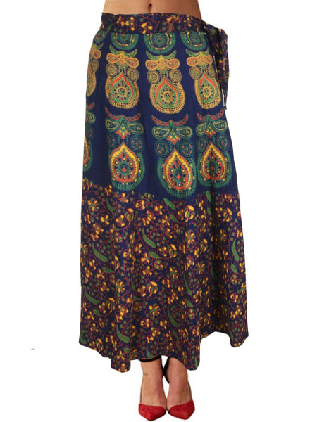 Block Printed Wrap Around Skirt From Jaipur In Blue - PJRSL19AP6