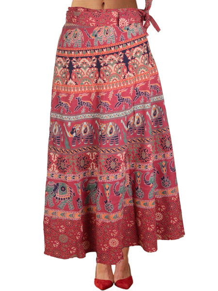 Block Print Jaipuri Wrap Around Skirt In Red - PJRSL22D91