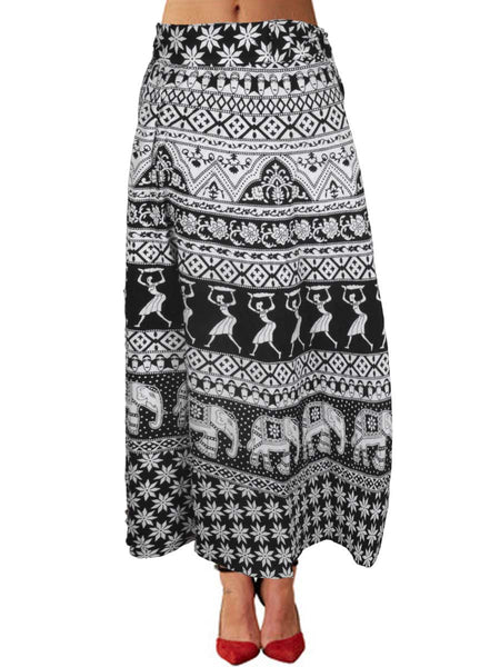 Block Print Jaipuri Wrap Around Skirt In Black & White - PJRSL22MH32