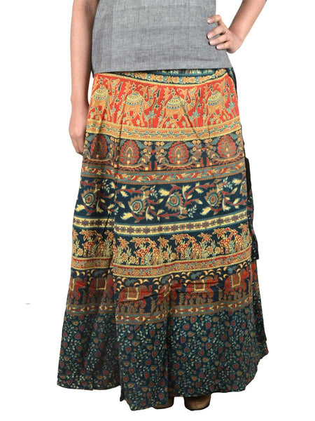 Block Print Jaipuri Wrap Around Skirt In Green - PJRSL2MH25