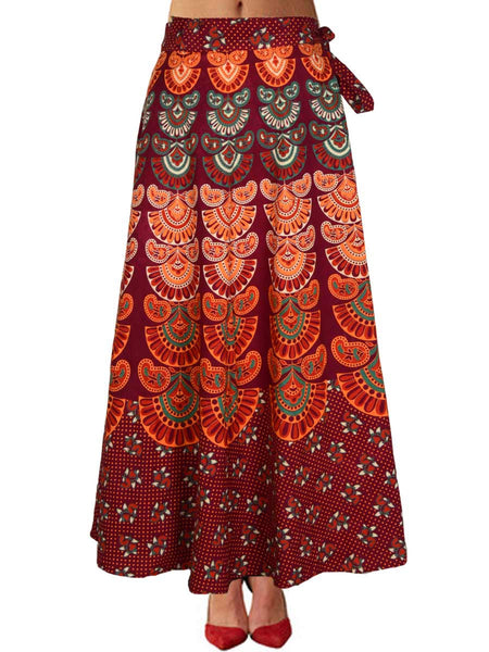 Block Printed Wrap Around Skirt From Jaipur In Red - PJRSL5FBY3
