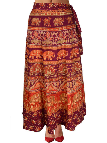 Block Print Wrap Around Skirt From Jaipur In Maroon - PJRSL5MH27