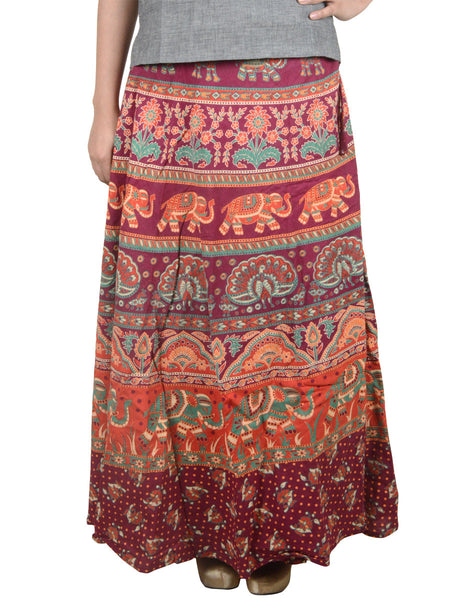 Block Print Jaipuri Wrap Around Skirt In Rosewood Red - PJRSL6AP69