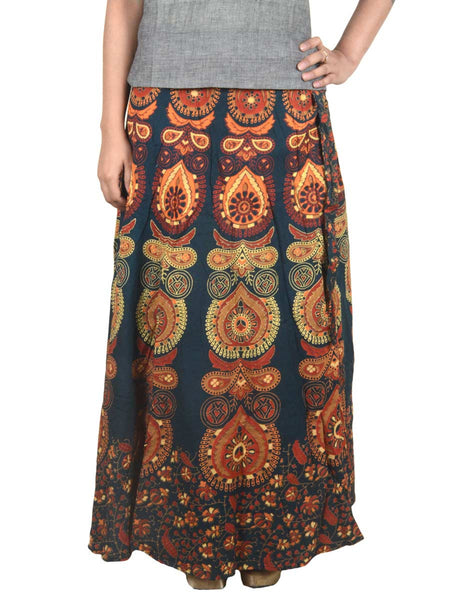 Block Printed Wrap Around Skirt From Jaipur In Dark Green - PJRSL6AP9