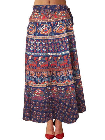 Block Printed Wrap Around Skirt From Jaipur In Blue - PJRSLA12MA31
