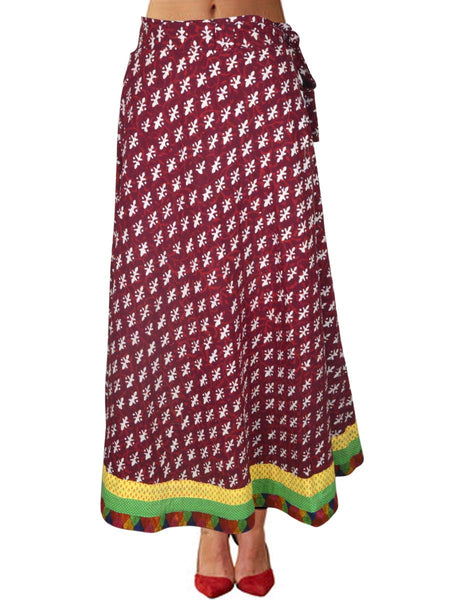 Block Printed Wrap Around Skirt From Jaipur With Maroon - PJRSLB5MH1