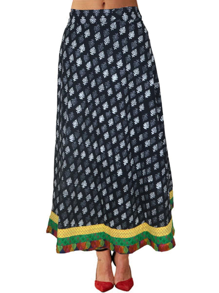 Block Printed Wrap Around Skirt From Jaipur In Black & White- PJRSLB5MH6