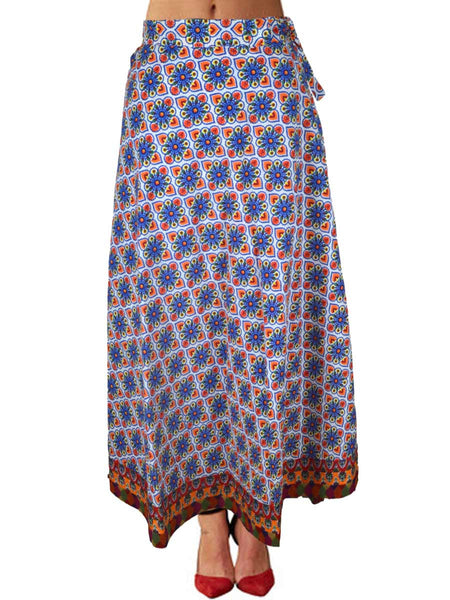 Block Printed Wrap Around Skirt From Jaipur In MultiColour - PJRSLBD22MH1
