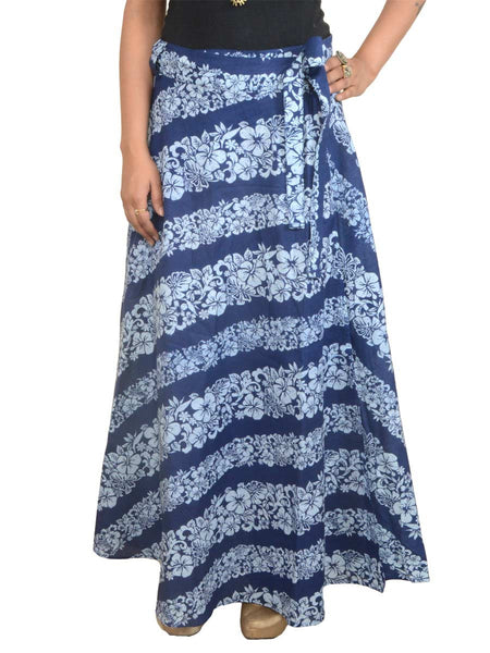 Printed Wrap Around Skirt From Jaipur In Blue - PJRSLD14AP7