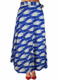 Printed Wrap Around Skirt From Jaipur In Blue - PJRSLD22JN2
