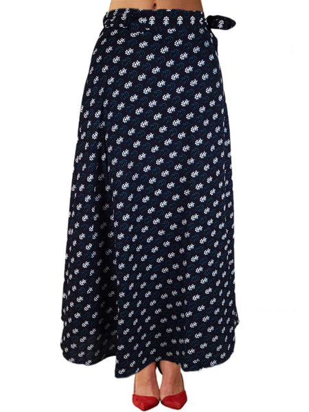 Printed Wrap Around Skirt From Jaipur In Black - PJRSLD22JN3