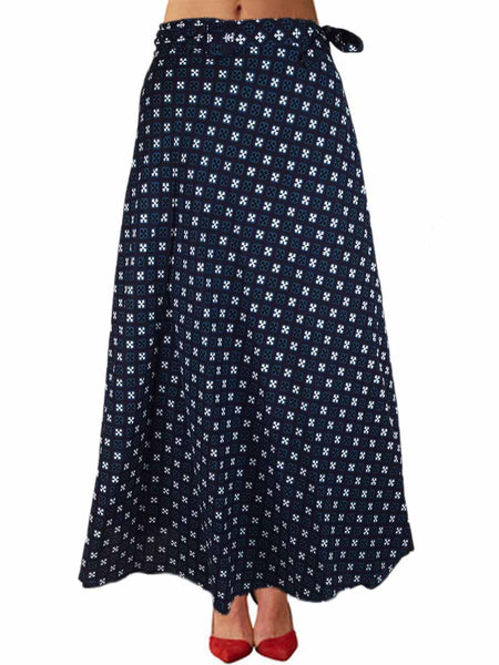 Printed Wrap Around Skirt From Jaipur In Blue - PJRSLD22JN7