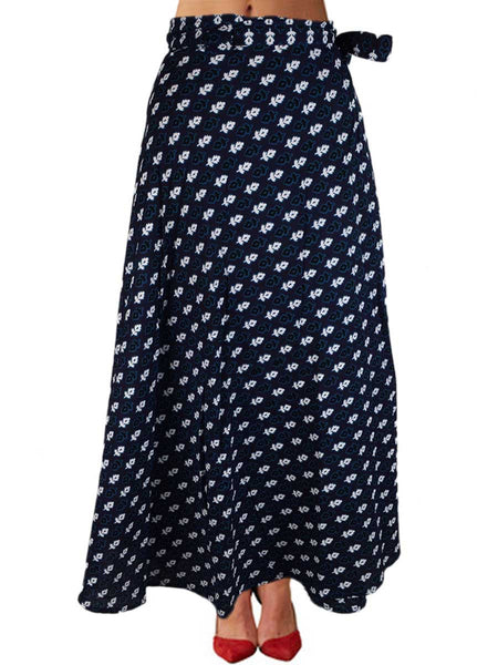 Printed Wrap Around Skirt From Jaipur In Blue - PJRSLD22JN9