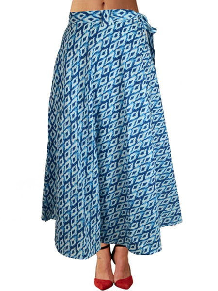 Printed Wrap Around Skirt From Jaipur In Blue - PJRSLD7JN3