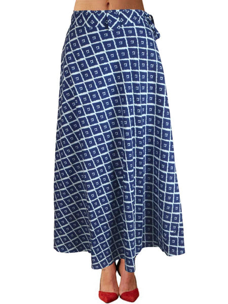 Printed Wrap Around Skirt From Jaipur In Blue - PJRSLD7JN6