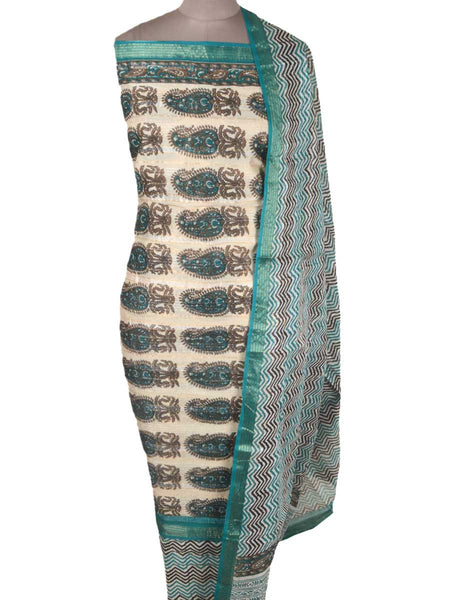Hand Block Print Suit From Jaipur In Beige & Green - PJRSU31MH38