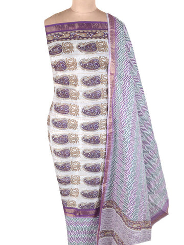 Jaipuri Printed Suit In White - PJRSU6MY38