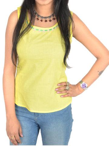 Short Top From Jaipur In Light Yellow - PJRTD7MAY3