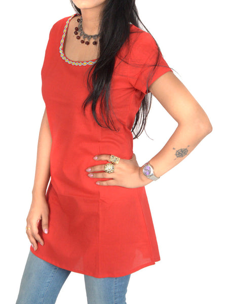 Short Top From Jaipur In Red - PJRTD7MAY5
