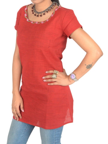 Short Top From Jaipur In Red - PJRTD7MAY6