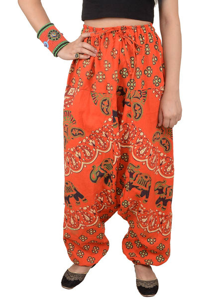 Block Printed Harem Pants From Jaipur In Red - PJRTH10MA20