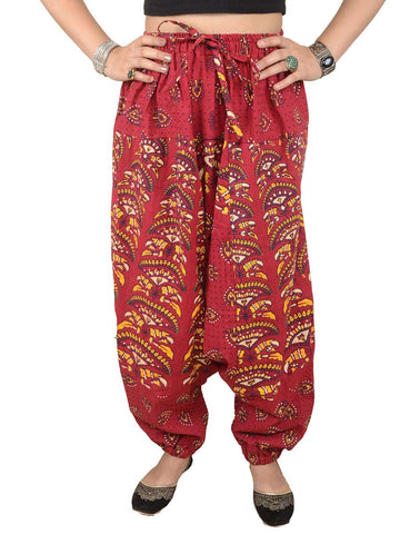 Block Printed Harem Pants From Jaipur In Red - PJRTH10MA4