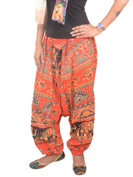 Block Printed Harem Pants From Jaipur In Red - PJRTH9AP66