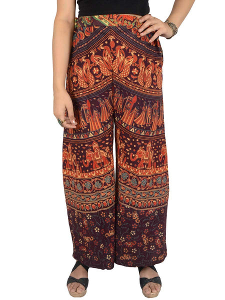 Block Print Jaipuri Palazzo Pants In Brown - PJRTPP10MA12