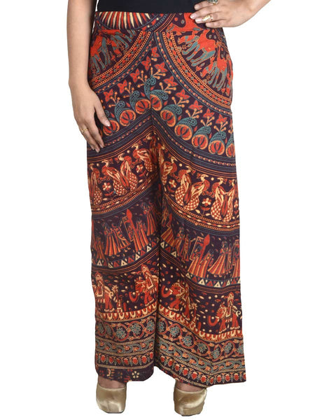Block Print Jaipuri Palazzo Pants In MultiColour - PJRTPP14AP23